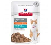 Hill's SP Young Adult Sterilised Cat hrana pentru caini cu pastrav 85 g (plic)
